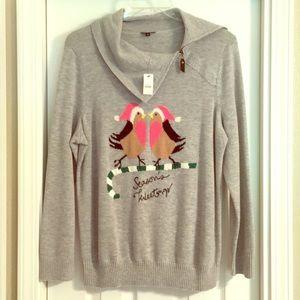 NWT 1X Talbots Season's Tweeting Gray Cowl Sweater